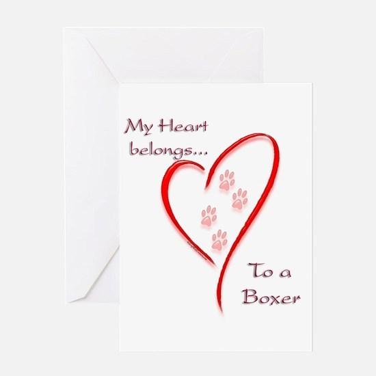 Boxer Heart Belongs Greeting Cards