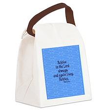 Philippians 4:4 Rejoice blue Canvas Lunch Bag