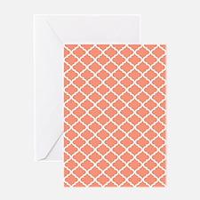 Coral White Quatrefoil Pattern Greeting Card