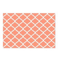 Coral White Quatrefoil Pa Postcards (Package of 8)