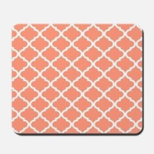 Coral White Quatrefoil Pattern Mousepad