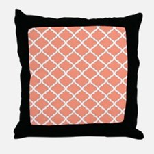 Coral White Quatrefoil Pattern Throw Pillow