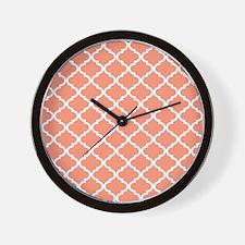 Coral White Quatrefoil Pattern Wall Clock