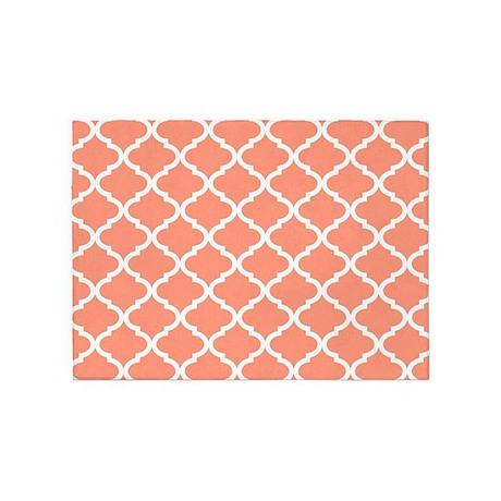 Coral White Quatrefoil Pattern 5u0027x7u0027Area Rug