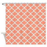 Coral quatrefoil Shower Curtains