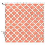 Coral quatrefoil Shower Curtains