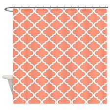 Coral White Quatrefoil Pattern Shower Curtain