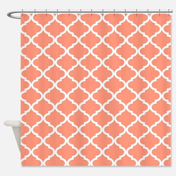 Coral Quatrefoil Shower Curtains Coral Quatrefoil Fabric Shower
