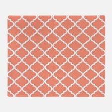 Coral White Quatrefoil Pattern Throw Blanket