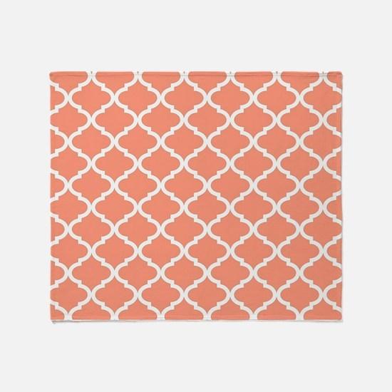 Coral White Quatrefoil Pattern Throw Blanket