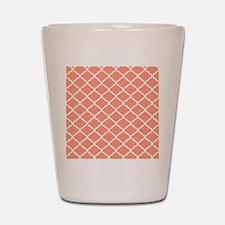 Coral White Quatrefoil Pattern Shot Glass