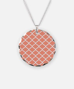 Coral White Quatrefoil Patte Necklace