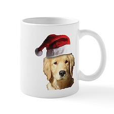 cute golden reriever with a santa Mug