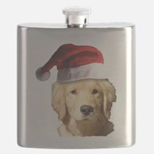 cute golden reriever with a santa Flask