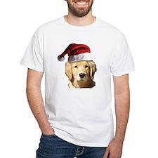 cute golden reriever with a santa Shirt