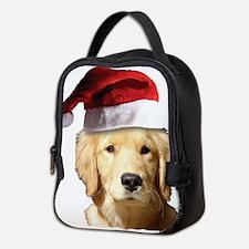 cute golden reriever with a san Neoprene Lunch Bag
