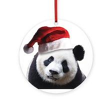Santa Panda Bear Ornament (Round)