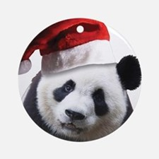 Santa Panda Bear Ornament (Round)