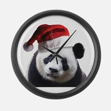 Santa Panda Bear Large Wall Clock