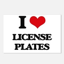 I Love License Plates Postcards (Package of 8)