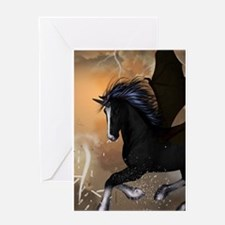 Bautiful dark unicorn Greeting Cards