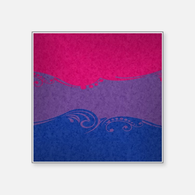"Bisexual Ornamental Flag Square Sticker 3"" x 3"""