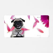 Sexy Pug Misha Loves Spring Aluminum License Plate
