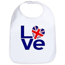 Blue British LOVE Bib