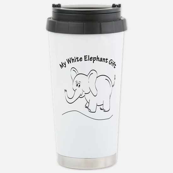 White Elephant Curved Text Travel Mug