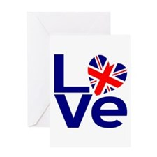 Blue British LOVE Greeting Cards