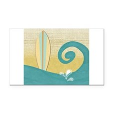 Sandy Beach Wave Surfboard Rectangle Car Magnet
