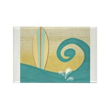Sandy Beach Wave Surfboard Magnets