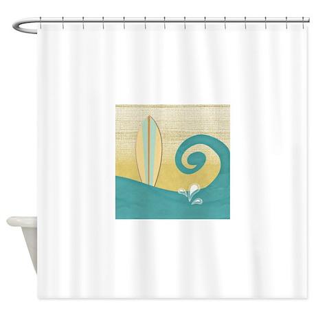 sandy beach wave surfboard shower curtain