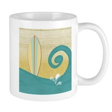 Sandy Beach Wave Surfboard Mugs