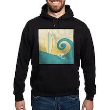 Sandy Beach Wave Surfboard Hoodie