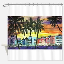South Beach Neon Sunset Shower Curtain
