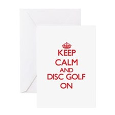 Keep calm and Disc Golf ON Greeting Cards