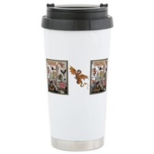 Funny Dragon on castle Travel Mug