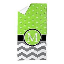 Star Disc, Chevron and Monogram Design Beach Towel