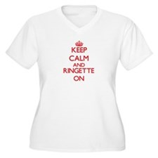 Keep calm and Ringette ON Plus Size T-Shirt