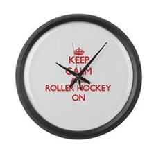 Keep calm and Roller Hockey ON Large Wall Clock