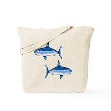 Blue Sharks swimming Tote Bag