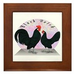 Black Dutch Chickens Framed Tile