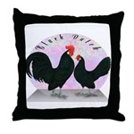 Black Dutch Chickens Throw Pillow