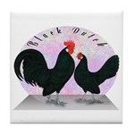Black Dutch Chickens Tile Coaster