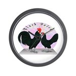 Black Dutch Chickens Wall Clock