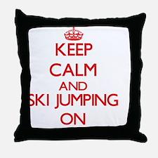 Keep calm and Ski Jumping ON Throw Pillow