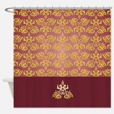 Gold On Burgundy Shower Curtains Gold On Burgundy Fabric Shower Curtain Liner