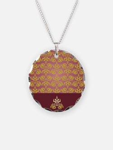 Gold Damask on Burgundy Necklace