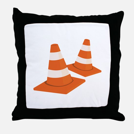 Safety Cones Throw Pillow